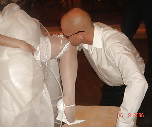Bride wearing only tiny thongs and transparent veil.
