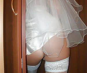 Round asses of amateur brides are exposed in these up skirt photos