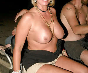50+ y.o. women flashing on a night party fest