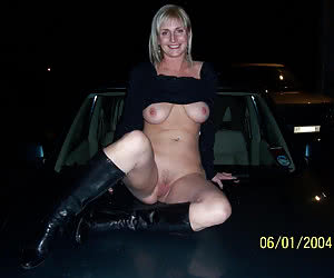 Stupid sluts posed nude and fucked on strangers cars