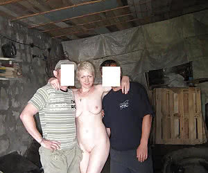 Flashing in front of two men