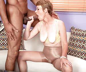 Black man fucks mom in pantyhose