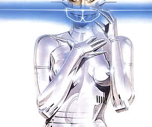 Hot silver  android robot woman shows off her curvy metallic body