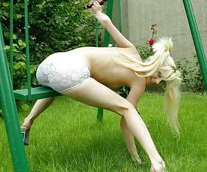 Super skinny russian girl posing outdoors