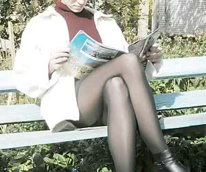 This blonde was too busy reading a magazine to notice me spying on her pantyhose and underskirt area