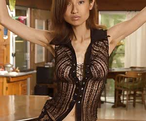 Brilliant Japanese lady seduces with her dark laced corset
