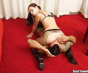 Nice footjob for a trampled victim
