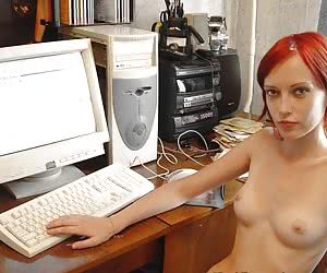 naked girlfriends at a computer