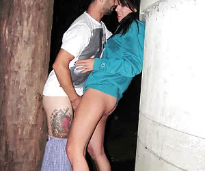 Crazy people having fun in the night outdoors