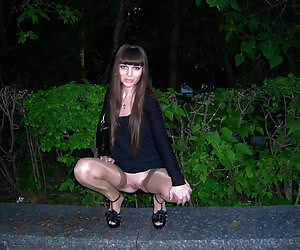 Sexy amateur housewives flashing on a night city streets