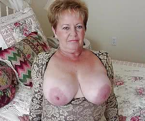 fat old woman with huge saggy wrinkly boobs