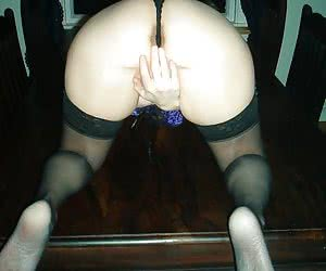 A set of candles in her hungry pussy