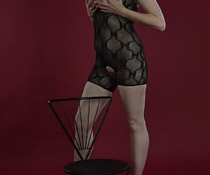 Posing in the studio for my photographer.And he admires my very special catsuit.Everything free to admire.