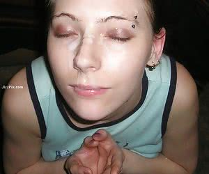 Amateur girl next door swallows a mouth full of cum