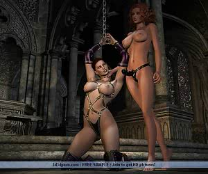 Bondage and strap-on dildos are favorite toys of lesbian babes