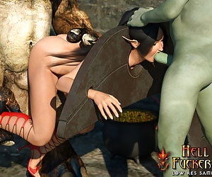 Appetite elf-slave suck disgusting orc's cock and drink every drop of cum