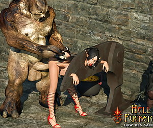 Leggy Warcraft slave gets hard anal pounding by Hell Fuckers