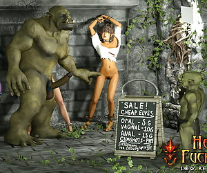 The Big Sale: Deliciously sexy elven cum dumpster was yelling and struggling to break free of orc's grip but it was already too late