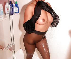Asian woman in wet pantyhose