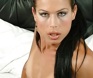 Fabulous tranny puss shows her yummy little tits and huge stiff cock