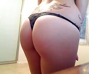 Girls show their tight round butts wrapped in sexy thongs