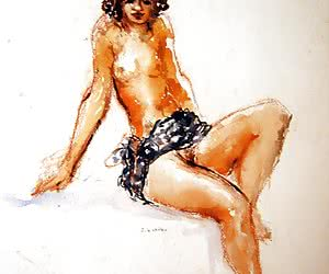 Huge boobs and hairy pussies are the attributes of these retro porn drawings.