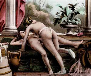 Luxurious and fancy ancient fuck scenes are shown in this vintage porn cartoon.