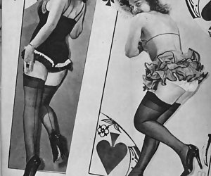 A set of nice pictures featuring timid and very beautiful women appear in vintage lingerie in magazines