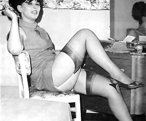 Cute gals get really strong pleasure while showing their bodies and legs in vintage lingerie on these pics