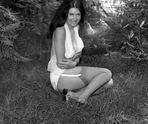 Gals proudly show their slim bodies on retro lingerie pictures and get their rocks of that