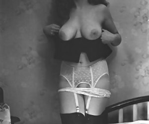 Gorgeous females appearing on these pictures like the idea of showing their vintage lingerie and boobs