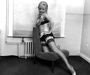 Innocent-looking gals enjoy showing off slim legs on the most wanted vintage lingerie pics