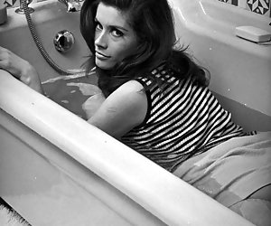 Neat gals have nice time posing in the bathtubs in their favorite vintage lingerie right on these pics