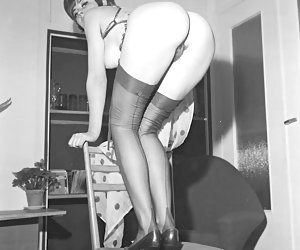 Neat gals in real retro lingerie lose control and become short of breath on making showoffs