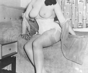 Playful females in vintage lingerie pose in various places and get their rocks of what they do