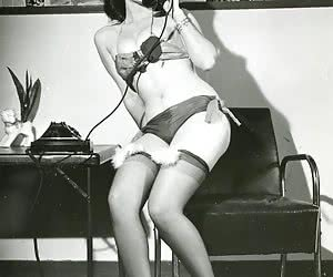 Pretty females in retro lingerie have real fun while posing on camera and showing their long legs