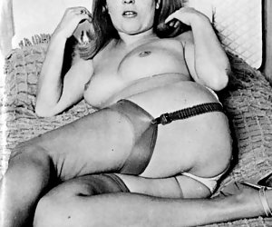 Pretty girl feels more than just excited on posing in vintage lingerie and showing her tits on the bed