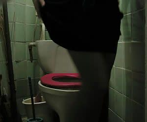 Hidden toilet voyeur cam takes shots of chick getting ready for checking out the bowl