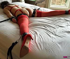Wife in bondage gets dominated and fucked
